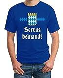 Oktoberfest Wiesn Outfit Herren Shirt - Servus Beinand! T-Shirt X-Large Blau