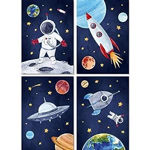 LALELU-Prints | A4 Bilder Kinderzimmer Deko Mädchen Junge | Weltall Rakete Planeten Astronaut | Poster Babyzimmer | 4er…