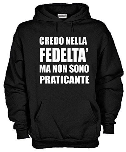 Settantallora - Felpa Con Cappuccio KG33 Credo nella Fedeltà Ma non Sono Praticante Nero