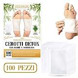 CEROTTI DETOX | 100 PEZZI | CEROTTI TOSSINE | Cerotti detox piedi | Elimina tossine - Metalli pesanti | con Bambu e Tormalina nera | Disintossicante Purificante con Ingredienti Naturali