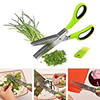 PETRICE Herb Scissors Stainless Steel Multi-Use Cutter Shears With 5 Blades And Cover With Cleaning Comb For Shredding Vegetables and Making Salad (Colour May Vary)