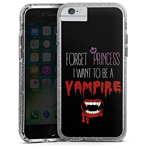 Apple iPhone 8 Plus Bumper Hülle Bumper Case Schutzhülle Hallowen Spruch Vampir Bumper Case Glitzer silber
