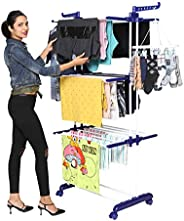 Happer Premium Double Supported 3 Layer Cloth Drying Stand with Breaking Wheels, Prince Jumbo (Blue)
