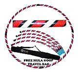 Pro Hula Hoop Reifen Erwachsene (Schwarz/Weiß/Rosa UV) Zerlegbarer 4 piece Travel Hula Hoop für Training u. Tanz HoopDance - Größe 100cm, Gewicht 650g