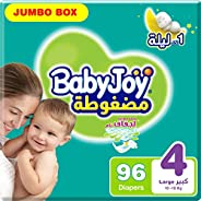 BabyJoy Compressed Diamond Pad, Size 4, Large, 10-18 kg, Jumbo Box, 96 Diapers