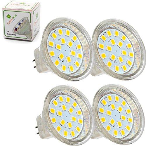 Preisvergleich Produktbild GreenSun LED Lighting 4er 3W MR11/GU4 240Lumen LED Spot Leuchte Strahler SMD 2835 Lampe 18LEDs Glühbirne Leuchtmittel Warmweiß 12V AC/DC Abstrahlwinkel 160 Grad