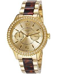Esprit Damen-Armbanduhr Marin Tortoise Spark Gold Brown Analog Quarz verschiedene Materialien ES106752002