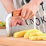 Jooks Holzgriff Schneidwerkzeug fuer Wellenschnittmesser aus Edelstahl Crinkle Wellig Manuelle Kartoffelchip Teig Gem für sebeilage Cutter Kartoffelchips Cutter Slicer Klinge