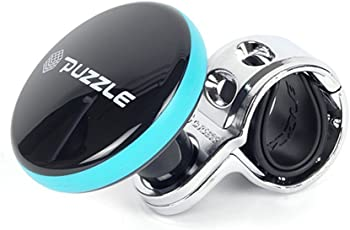 Auto Hub Puzzle Car Steering Knob - Black-Blue