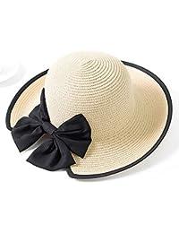 ZXCVBM Cappello di Paglia da Donna Cappello da Donna Estivo A Righe con  Fiocco in Bowknot Protezione UV Pieghevole Elegante… a270a2f6f925