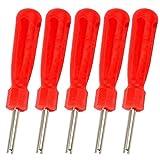 SENZEAL 5x Herramienta de Válvula de Neumático de Coche Caja de Válvula de Eje de Acero Válvula Llavero Rojo