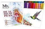 Crayon pinceau à deux pointes - Crayons à pointe fine et large en 24 couleurs - Deux crayons idéaux pour le lettrage, la calligraphie, les bandes dessinées et le manga - Fournitures Mozart
