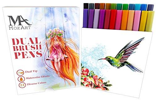 Pinselstift - Set mit zwei Spitzen - 24 Farben - Langlebig, Wasserfarben - Effekt, Aquarell Brush Pen – Ideal für Malbücher, Manga, Comic, Kalligrafie - MozArt Supplies