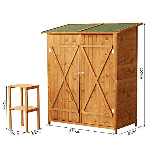 Outsunny casetta armadio porta attrezzi per esterno ripostiglio da giardino in legno 159x125x65 cm - Armadio porta attrezzi da giardino ...