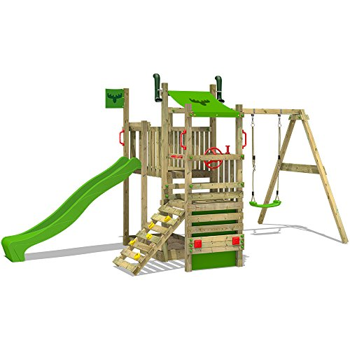FATMOOSE Torre para trepar TurboTruck XL Power Parque infantil con columpio Casa del árbol tobogán camión