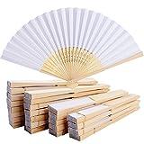 BETESSIN 24pz Ventaglio Pieghevole Bambu e Carta Segnaposto Bomboniere Nozze Festa Matrimonio Compleanno Decorazione Fai da Te Regalo (Bianco)