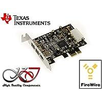 Kalea Informatique–Tarjeta controladora PCIe Low Profile FireWire 800y 400(IEEE1394a y IEEE1394B sobre puerto PCI Express 1X PCI-E)–2+ 1salidas, Chipset TI Texas Instruments