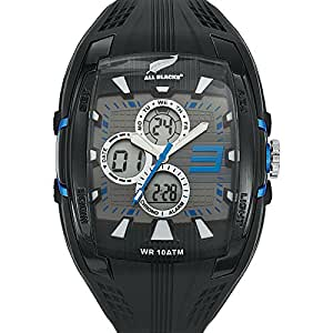 All Blacks - 680049 - Montre Homme - Quartz Analogique - Digital - Cadran Noir - Bracelet Silicone Noir