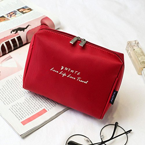 QCBC Sac cosmétiques Maquillage Vanity Case/Box Organisateur de Stockage de Clous (Rouge)