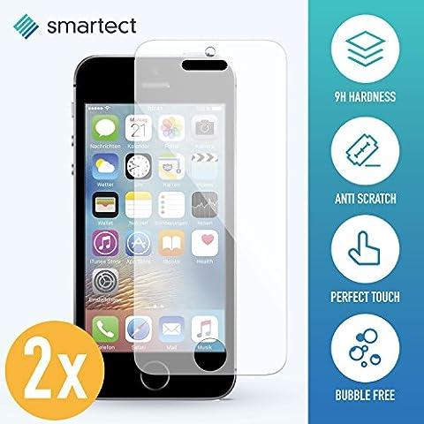 [2 Stück] Panzerglas Folie für iPhone SE / 5s / 5 / 5c • Panzerfolie mit 9H Härte • Blasenfreie Montage der Folie • Ultra-Dünn (0.3 mm) • Gerundete Kanten (2.5D) • Displayschutzfolie mit Anti-Fingerabdruck