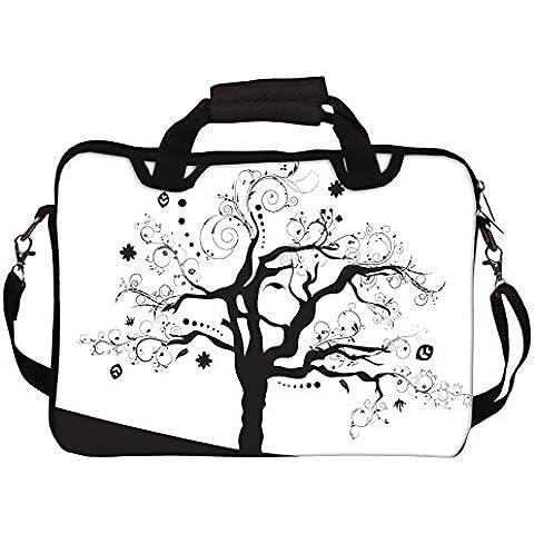 Abstract Snoogg ilustración de un árbol con muchas hojas portátil con correa de hombro impreso 15 A 15,6
