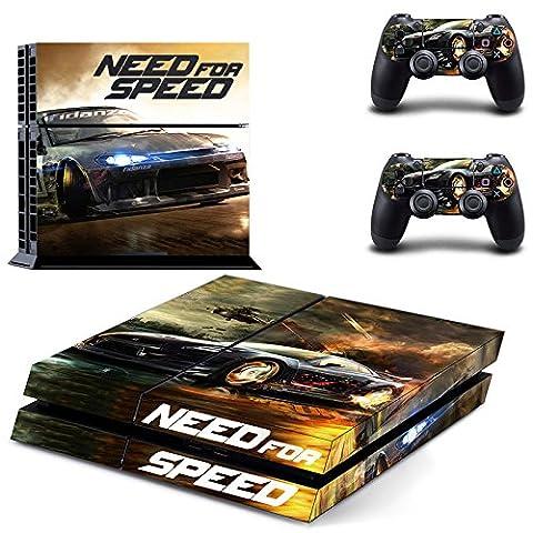 Playstation 4 + 2 Controller Aufkleber Schutzfolie Set - Need for Speed /PS4