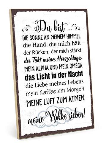 TypeStoff Holzschild mit Spruch - DU BIST Meine Wolke Sieben - im Vintage-Look mit Zitat als Geschenk und Dekoration zum Thema Liebe und Beziehung (19,5 x 28,2 cm) (Liebe Bff Ich Meine)