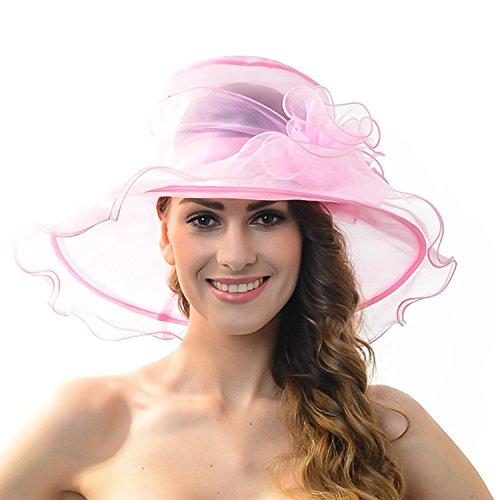 Sombrero sol mujer - Organza floral Plano Gran ancho