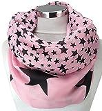 PiriModa XXL Damen Sterne Schal Leichter Schlauchschal Viele Farben (Rosa/Schwarz)