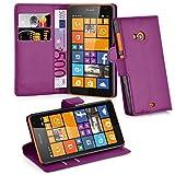 Cadorabo Hülle für Nokia Lumia 535 - Hülle in MANGAN VIOLETT – Handyhülle mit Kartenfach und Standfunktion - Case Cover Schutzhülle Etui Tasche Book Klapp Style