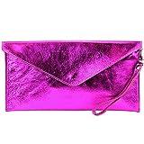 modamoda de- ital. Borsa in pelle Clutch Underarm Bag Borsa da sera in pelle metallizzata M106-151, Colore:M106 rosa metallizzato