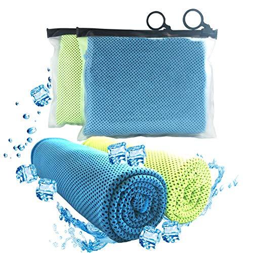 Kühlendes Handtuch, für Sports 2Pack, cool Badetuch für sofortige Kühlung Relief, chillen Hals Wrap, Sport Handtuch für Herren und Damen 101,6x 30,5cm von Aplus, Unisex, blau/grün - Herren Handtuch Wickeln