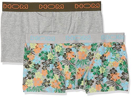 HOM Herren Badehose, 2er Pack Mehrfarbig (Imprimé Fleurs Hibiscus Multicolore + Gris Chiné)