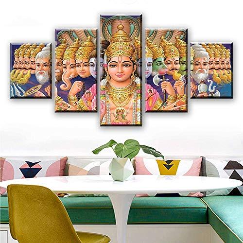 DRNXP Wandkunst Wohnkultur Leinwand Malerei Moderne 5 Stücke Leinwanddruck Mythologie Vishnu Indien Gottheiten Ganesha Poster Kunstwerk @ 40X60_40X80_40X100cm_With_Frame