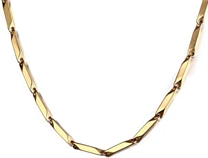 NAKABH Men's Metal Stainless Steel Chain Necklace (Gold, NAK-1700104)