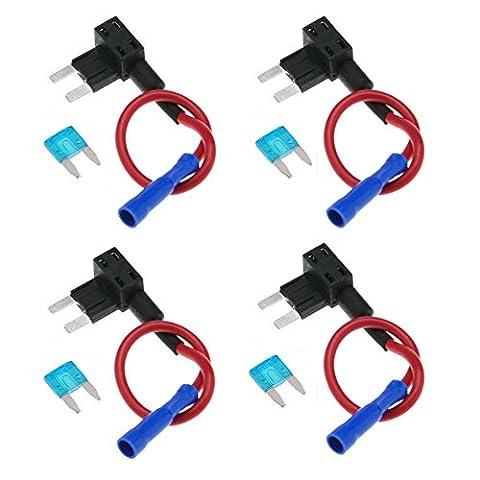 Ele-089-uk, Gankarii–4PCs Circuit fusible robinet Piggy Back Mini Lame ATO ATC Porte fusible Boîte 12V 24V avec un Circuit de 15A Mini Lame
