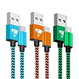 Cable USB Tipo C Aione 3Pack 2M USB C Cable para Carga y Transmisión de Datos Compatible con Samsung Galaxy S9 S8 Note 8, Huawei P9, P10, Google Pixel, LG G6 G5, OnePlus5T, HTC 10-(Azul,Naranja,Verde)