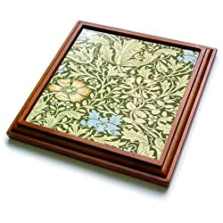 3dRose trv_243620_1 Image of William Morris green & Blue Floral Pattern Trivet with Ceramic Tile, 8 x 8, Natural