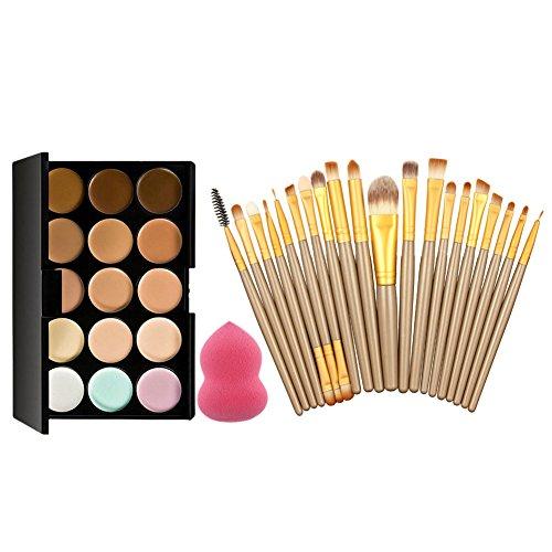 La Cabina Set 15 Couleurs Palette de Maquillage Correcteur + 20 PCS Pinceaux Brosses de Maquillage + 1 PC Éponge Houppe à Poudre en Forme de Gourde