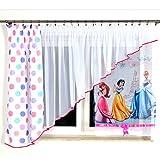 MB GMP-1 Kindergardine für Mädchen/Kinder mit Den Drei Beliebten Disney Prinzessinen Arielle, Cinderella und Schneewittchen für Kinderzimmer/Mädchenzimmer / Vorhänge
