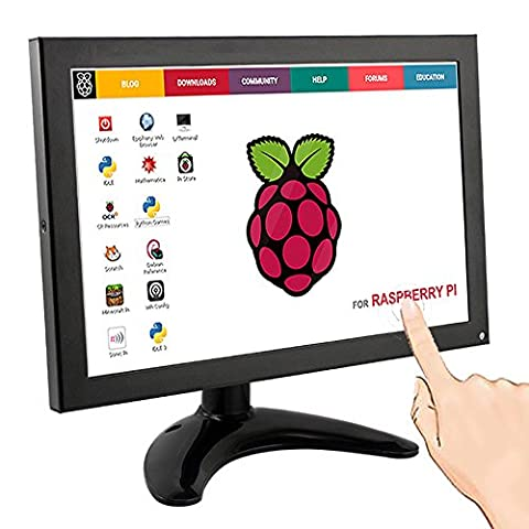 10.1 Inch IPS Monitor Display Screen- Small Portable 1280x800 Resolution TFT LCD FULL HD Monitor with Touch Function, HDMI BNC VGA AV USB Input and Built-In Speaker for Raspberry Pi 3B 2B B+ FPV Video Display Screen TV CCTV Security Black from