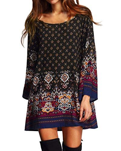 Kidsform Sommerkleid Damen Casual Langes T-Shirt Kleid Lose Tunika Kurzarm Rundhals Minikleid mit Bowknot Ärmeln, 2XL=EU44,  Y-schwarz (Shorts Workout Plus Womens)