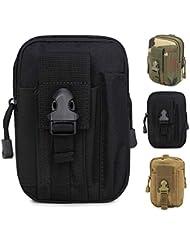 ZhaoCo Multifunzione Poly Portautensile edc Pouch Camo Sacchetto Militare di Nylon Utility Tactical Marsupio Escursione di Campeggio Pouch -Nero