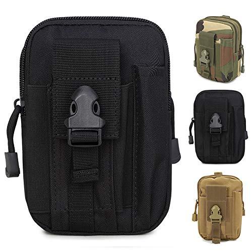 ZhaoCo Taktische Hüfttaschen, Nylon Militär Kompakt MOLLE EDC Tasche Gürteltasche Beutel Taille Taschen für Gadget-Dienstprogramm Handy Camping Wandern und Reisen - Schwarz