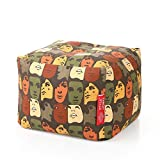Style Homez Square Cotton Canvas Abstract Printed Bean Bag Ottoman L Size