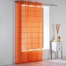 DOUCEUR D'INTERIEUR Peps, Tenda in voile, motivo a righe, con occhielli, 140x 240cm, Colore: Arancione