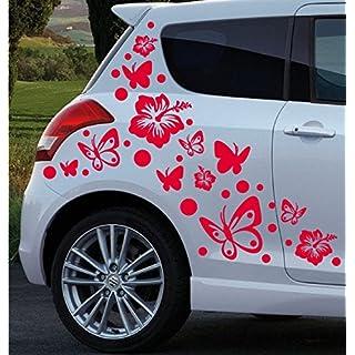 A&D design Deutschland XL Set - Autoaufkleber - Hibiskus Blumen & Schmetterlinge - 70 Teilig (Rot)