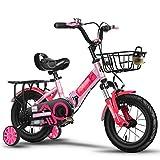 Qazxsw Vélos pliants pour Enfants 2-10 Year Old Garçons et Filles Vélos Amortisseurs Voyage de Plein air Vélos Hauteur Ajustable,Rose,20inches