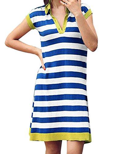 Femme Convertible Col Bouton Fermeture En Haut Sans Manche Rayures Robe Ceinturée Blanc Bleu Xs Bleu