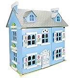 Leomark Alpine Puppenhaus Aus Holz Mit Möbeln Und Familie Puppen Blau Villa Puppenfamilie Puppenhaus Mit Möbeln Und Zubehör
